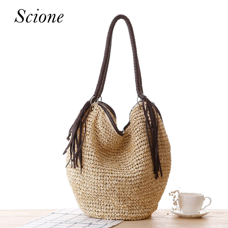 New Casual handmade knitting Bucket Bag Beach Summer Straw Women Woven Manual Shoulder Bags travel Tote