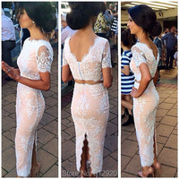 Elegant Ankle Length Short Sleeve White Lace Appliques Champagne Two Piece Evening Gowns