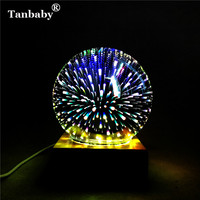 Tanbaby DC5V USB Powered 3D Illusion Led Lamp 3W Creative Round Led Night Lights Multicolor Fireworks
