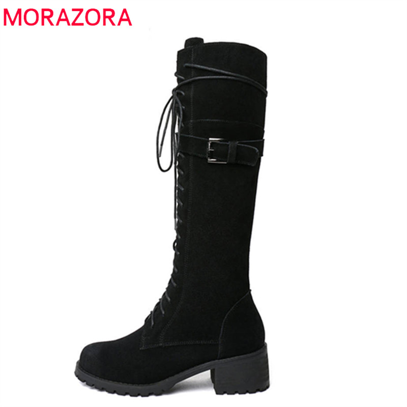 MORAZORA 2018 newest high quality cow suede leather boots lace up round toe autumn winter boots fashion knee high boots women