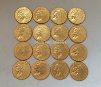 24 K gold plated 15 coins set Indian head $2 1/2 gold coin COPY