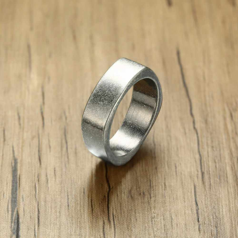 Gents Square Rustic Ring in Oxidized Silver Stainless Steel Men Flat Top Band Industrial Age Style Male Jewelry