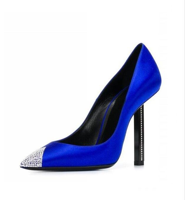 12 Minces Cm Élégant Pointu Cristal Sexy De Satin Bleu Mariage Talons Pompes Mariée Picture Orteil as Mode Femmes As Chaussures Soie Haute Picture 00Zpq