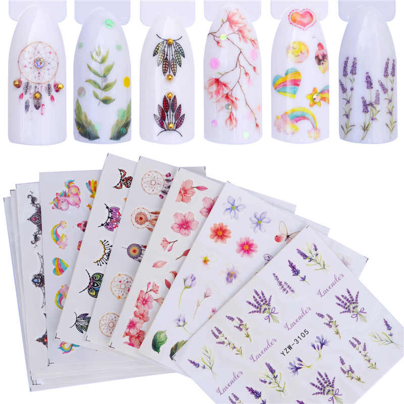 FWC 12 PCS Nail Stickers Water Decals Butterfly Rose / Wolf / Necklace / Plum Slider Manicure Nail Art Decoration