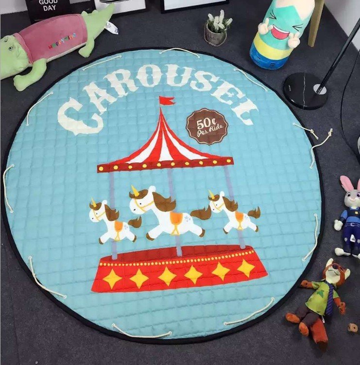Kids Toys Storage Mat Baby Gyms Playmats Unicorn Flamingo Floor Carpet Mat Round Children Climbing Gym Mat Outdoor Picnic Mat Easy To Repair Mother & Kids