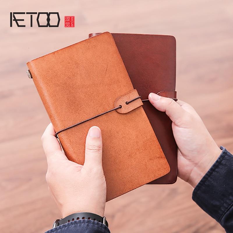 AETOO RHead-couche vache portable rétro main grand livre main voyageur souvenirs Journal