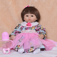 Cute girl reborn dolls toys1843cm silicone reborn baby doll real alive Bebes reborn menina bonecas bithday gift for child
