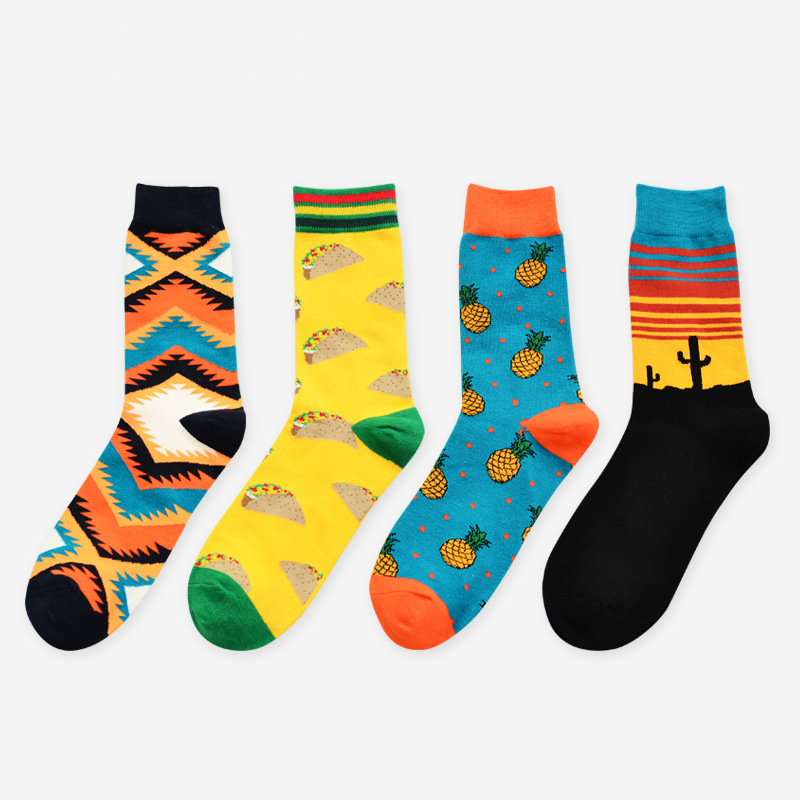 Autumn and winter new mens interesting personality cartoon art abstract long leisure cotton socks 4 pairs