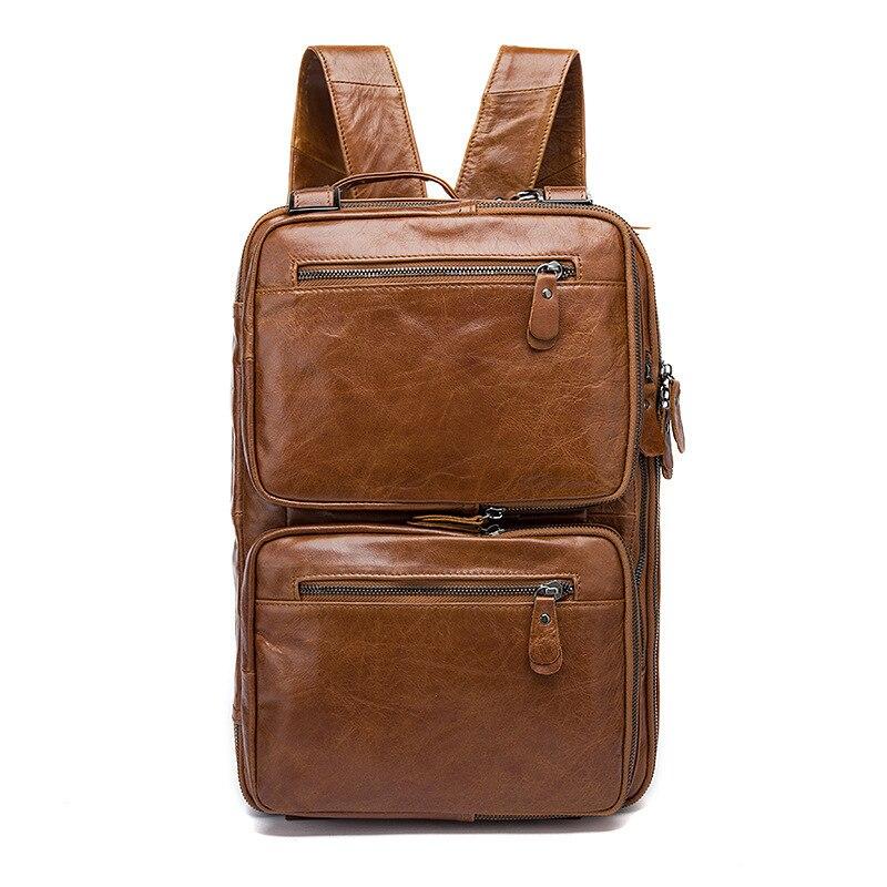 crazy horse Genuine Leather Men Backpack Bags Large Men Travel Bag Luxury Designer Leather School Bag Laptop Backpack