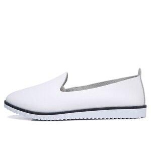 Image 2 - Hakiki Deri Kadın Yaz Bale daireler ayakkabı Bayanlar Nefes Tuval Anne Ayakkabı sneaker loaferlar moda Ayakkabı