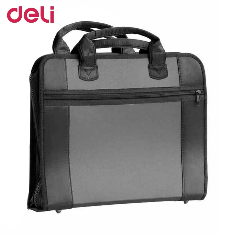 Deli 5865 Multifunctional Business Bag Briefcase Canvas Zipper Handle Bag Rock Grain Multilayers Business Supplies For Men multifunctional professional handle pulley roller gear outdoor rock climbing tyrolean traverse crossing weight carriage fit