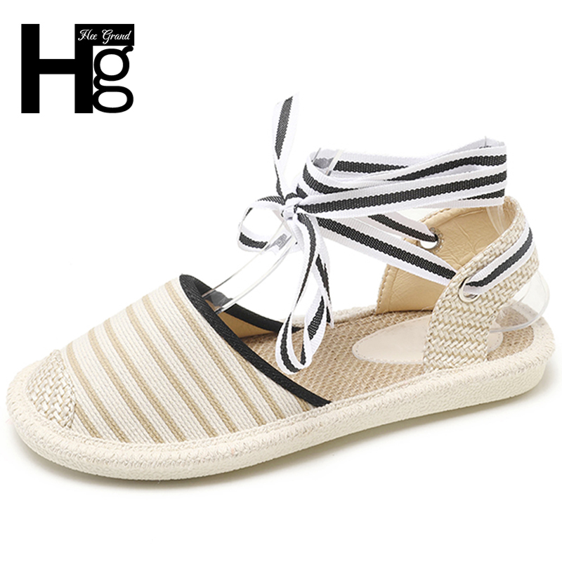 HEE GRAND Cross-tied Causal Women Flats Loafers Striped Women Shoes Lace Up Straw Canvas Shoes Woman Size 35-40 XWZ5157 stylish double bow lace up and chain embellished striped straw hat for women