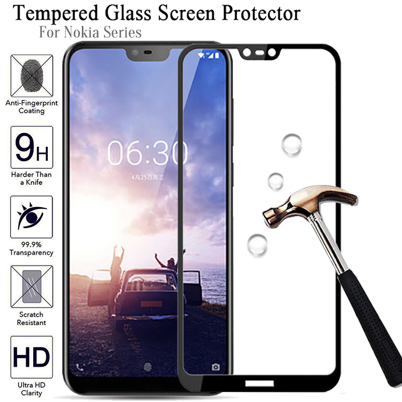 2.5D 9H Full Cover Tempered Glass For Nokia X6 Protective Glass On For Nokia 7 Plus 6 2018 Screen Protector For Nokia 3 5 6 7 8