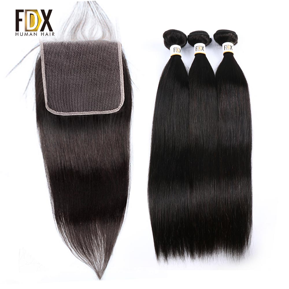 FDX Brazilian straight hair 6x6 closure with bundles human hair weave 3 bundles with lace closure