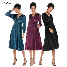 PGSD Autumn winter Simple Fashion Pure Colored Women Clothes Crossed V collar Golden velvet waist-closing pendulum Dress female