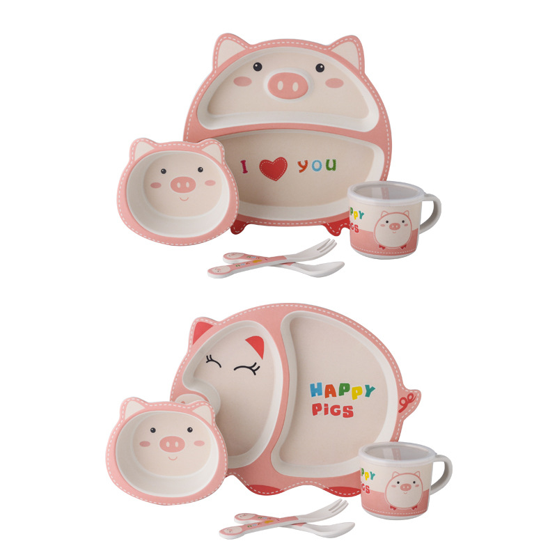 5pcs/set Baby Tableware Cute Pig Children Feeding Dishes <font><b>Kids</b></font> Natural <font><b>Bamboo</b></font> Fiber Dinnerware With Bowl Fork Cup Spoon Plate image
