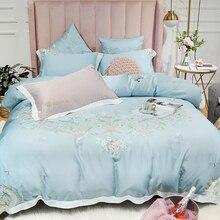Luxury Flowers Embroidery Soft Tencel Silk Princess Girl Bedding Set Light blue Pink Duvet Cover Bed Sheet Linen Pillowcases