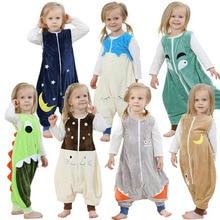 Пижамы для малышей мальчиков и девочек Детская фланелевая пижама с изображением животных весна-лето 1 предмет Спальный мешок с рисунком без рукавов 2 до 6 лет