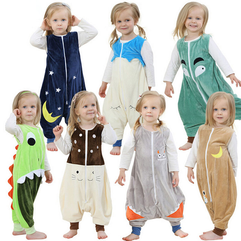 Baby Boys Girls Pajamas Spring And Summer Children Flannel Animal Kids Onepiece Sleepwear Cartoon Sleeping Bag Sleeveless 2-6Y onepiece nami ropa ciclismo 68 onepiece