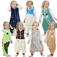Baby Jongens Meisjes Pyjama Lente En Zomer Kinderen Flanel Animal Kids Onepiece Nachtkleding Cartoon Slaapzak Mouwloze 2-6Y
