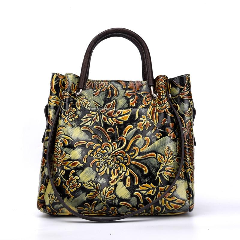 Bagaj ve Çantalar'ten Üstten Saplı Çanta'de Kadın Omuz Kabartmalı Messenger Çapraz Vücut Çanta Tote Çanta Ulusal Stil En saplı çanta Kadın hakiki deri çanta'da  Grup 2