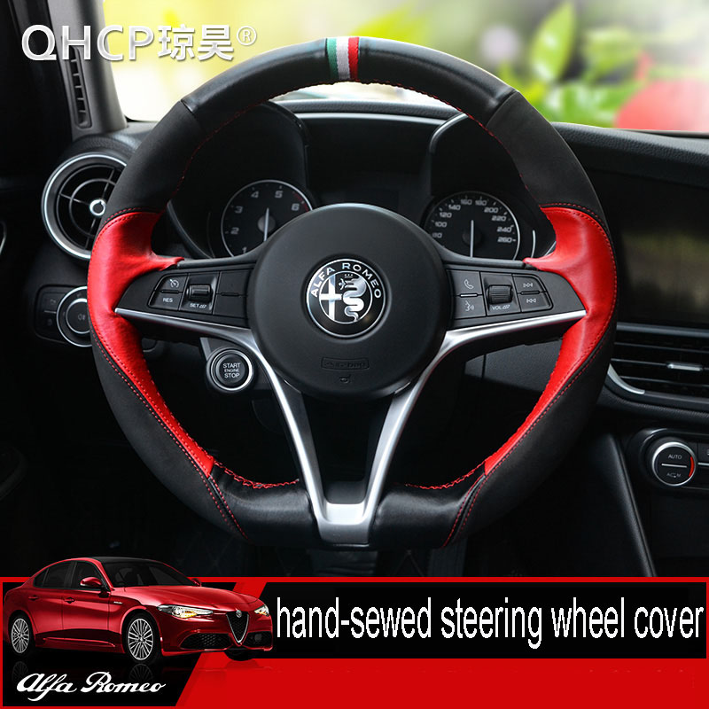 QHCP Car Real Leather Hand-sewed Steering Wheel Cover Car Interior Accessories Steering Wheel Covers For Alfa Romeo Giulia vintage leather steering wheel cover flower printing women s car steering wheel covers for girls car steering accessories