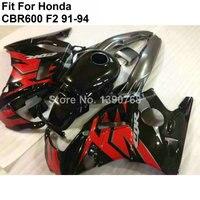 Горячие обтекатели продажа для Honda CBR600 F2 91 92 93 94 обтекателя комплект для CBR600 F2 черный красный NM79