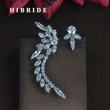 HIBRIDE красивые серьги в форме пера AAA серьги с цирконием кубической огранки для женщин модные ювелирные изделия серьги Букле д 'ореиль E-683