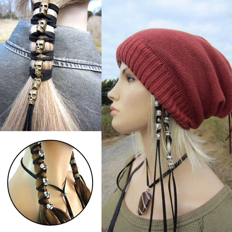 Hair Rope Vintage Punk Metal Skull Hairband Ornaments Women Ponytail Styling Headwear DIY Accessories Antique with 6 Pendants