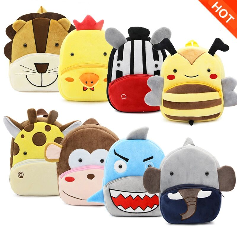 New Cute Cartoon Kids Plush Backpack Toy Mini School Bag Children's Gifts Kindergarten Boy Girl Baby Student Bags Dropshipping