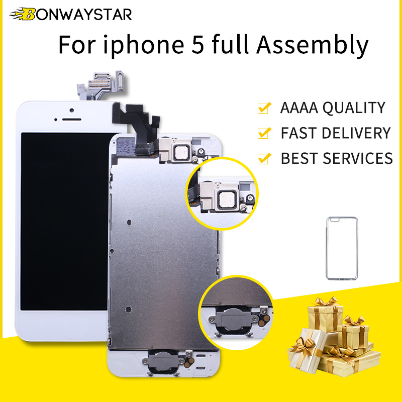 Display for <font><b>iPhone</b></font> <font><b>5</b></font> A1428 A1429 A1442 LCD <font><b>Ecran</b></font> Pantalla Module Touch Screen Full Assembly+Home Button+Front Camera image