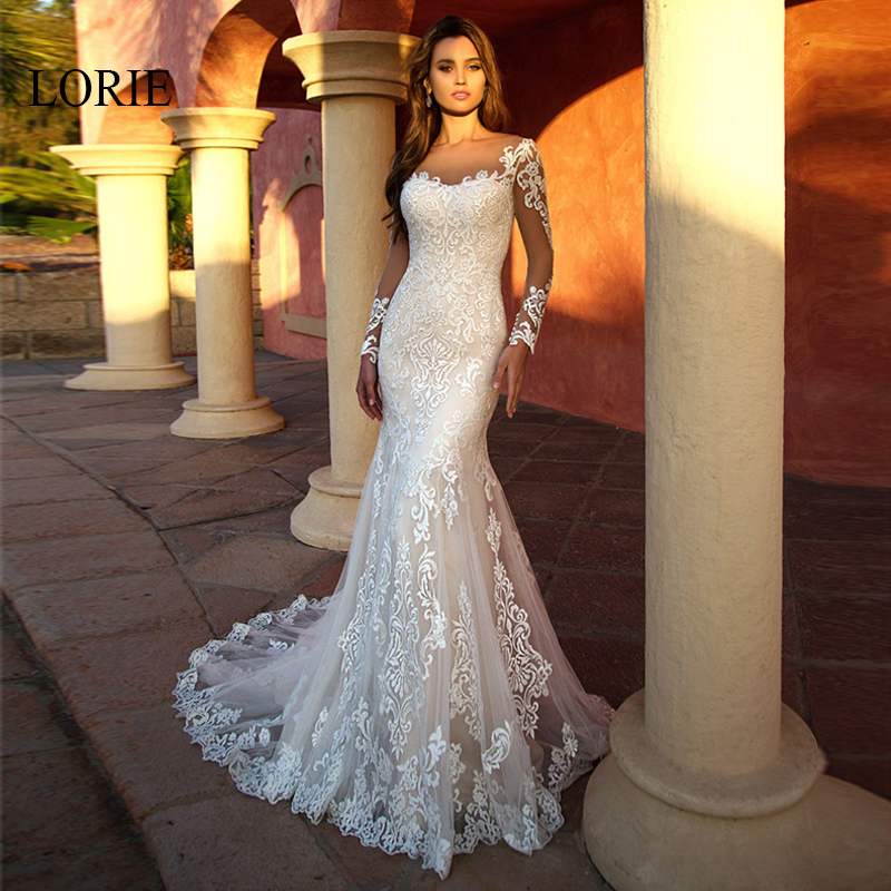 LORIE Mermaid Wedding Dress Elegant Lace Appliqued with Tulle Long Sleeve Bride Dresses Illusion Wedding Gowns