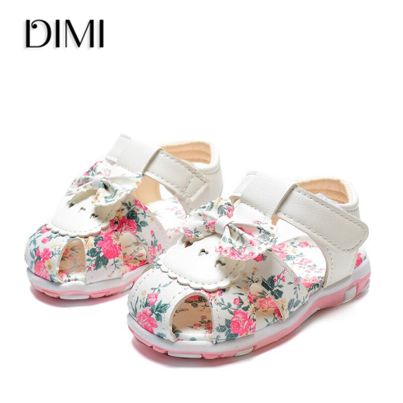 2020 New Summer Children Shoes Leather Toddler Girls Sandals Flower Princess Shoes Soft Baby Sandals Size 15-25