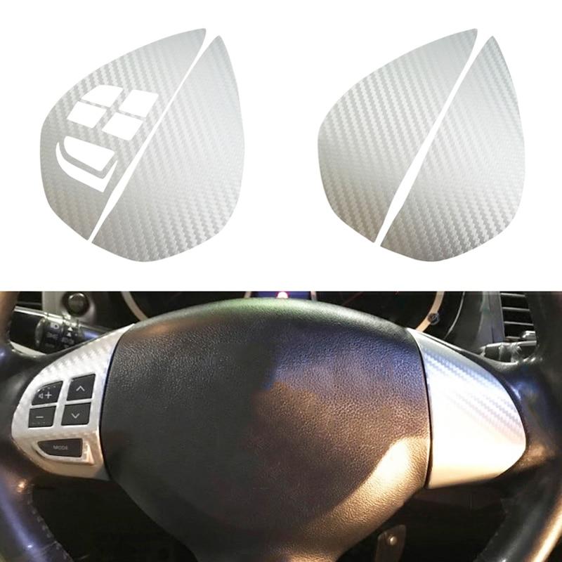 Carbon Fiber Steering Wheel Button Audio Control Switch Sticker Trim For Mitsubishi ASX Lancer Outlander RVR Pajero Sport