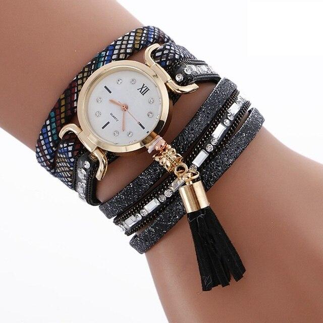 2017 fashion women tassel pendant roma diamond leather bracelet