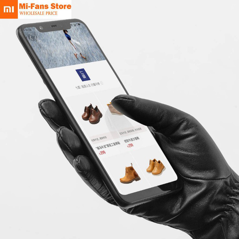 New Xiaomi Mijia Qimian Lambskin Touch Screen Finger Gloves Waterproof Spanish Raw Soft Leather Warm Winter For Women Man Drive-in Smart Remote Control from Consumer Electronics