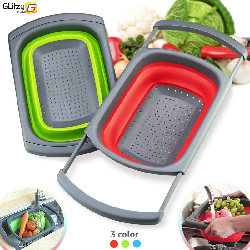 Kitchen Colander Fruit Vegetable Washing Basket Foldable Strainer Collapsible Drainer Over The Sink Adjustable Silicone Tools