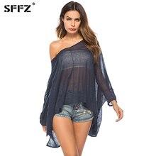 SFFZ Fashion Sweater Pulóver Női pulóver Navy Blue Átlátszó alkalmi túlméretezett Kényelmes Kötött tavaszi nyári ruhák