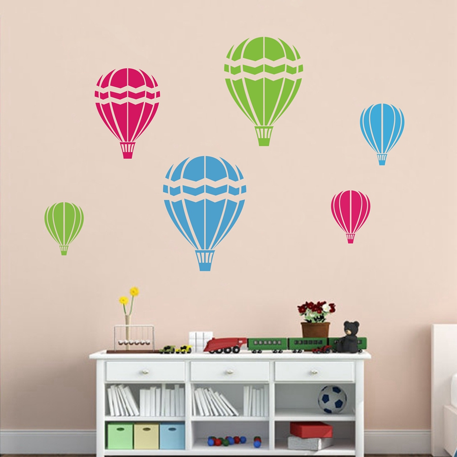 Hot Air Balloons Wall Decal Playroom Vinyl Wall Stickers Children's Room  Nursery Decor ,set Of