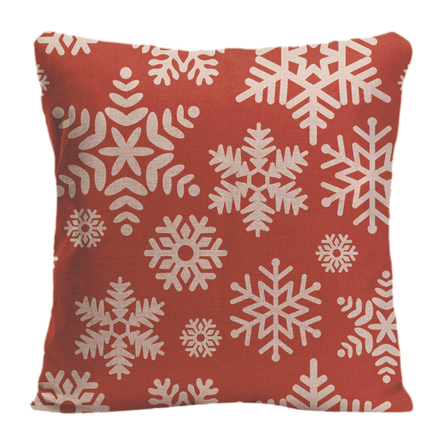 snowflake pattern printed red background throw pillow decorative