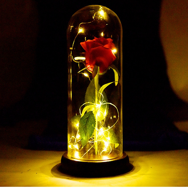 Simulation rose glass lamp Birthday Gift Red Rose Fallen Petals in a Glass Dome on a Wooden Base for Christmas Valentines Gift