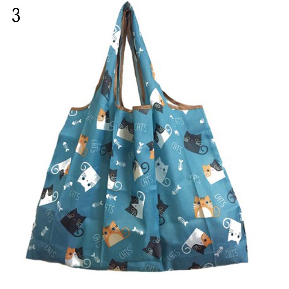 Portable Reusable Shopping Bag Large Capacity Women Handbag Floral Print Striped Folding Tote Bag 2019 Cartoon Eco Friendly Bags