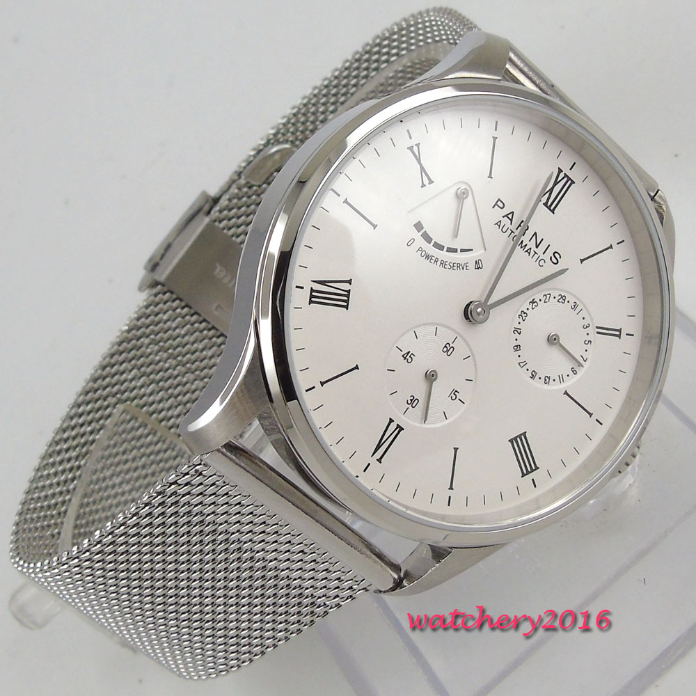 Valentines gifts Romantic 42mm parnis White Dial Power Reserve Date SS Case Roman Numerals ST Automatic Movement mens Watch l120 romantic date
