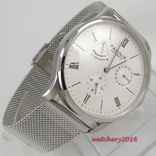 цена Valentines gifts Romantic 42mm parnis White Dial Power Reserve Date SS Case Roman Numerals ST Automatic Movement mens Watch онлайн в 2017 году