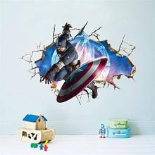3d American Captain Broken Hole Wall Sticker Decal Kids Room Home Decor Diy Cartoon Avenger Super Hero Mural Art Pvc Wall Poster scary ghost 3d broken wall art sticker