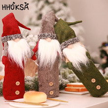 1Set Christmas Decorations For Home Cute Faceless Doll Red Wine Bottle Decor New Year Dinner Table Ornaments