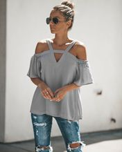 купить chic women blouse new female ladies clothing v-neck hollow out solid casual womens top shirt top онлайн