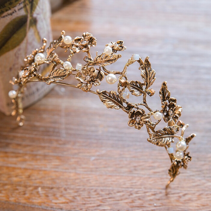 Vintage headband baroque crown Gold Color Imitation pearl crown headband wedding hair jewelry