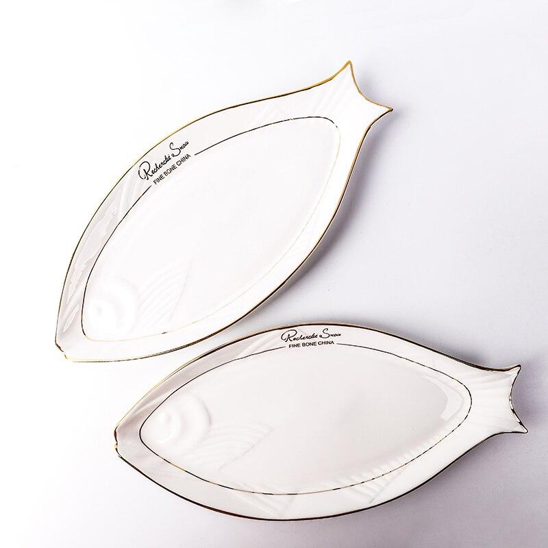 16in blanc créatif en céramique os chine poisson forme plaque plaqué or sur-vitré vaisselle plat soucoupe hôtel légumes Eeg plat