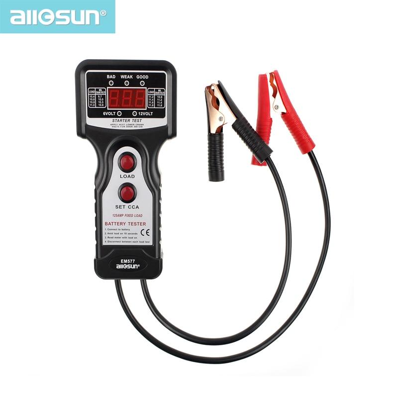 VISŲ SUN 12V CCA skaitmeninių automobilių / automobilių akumuliatorių testeriai, skirti šaltai temperatūrai / akumuliatoriaus įkrovai / įkrovimo įtampa / starterio variklis EM577